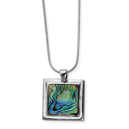 (Mia Diamonds 925 Sterling Silver Solid Abalone Pendant Necklace -18