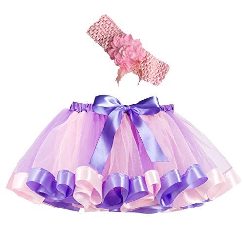 (Sunhusing Adorable Girls Rainbow Tutu Skirt + Hair Strap Two-Piece Suit Toddler Party Dance Ballet Costume Skirt)