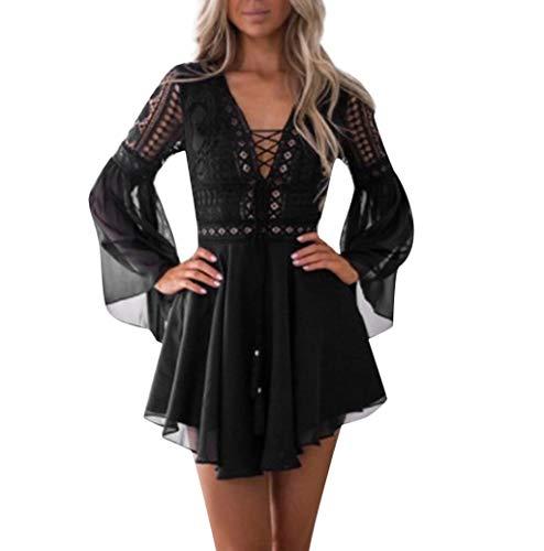 Photno Women's lace Dress A-Line Maxi Dress Long Sleeve Elegant Party Gown Deep V-Neck Sexy Fashion Dress Black