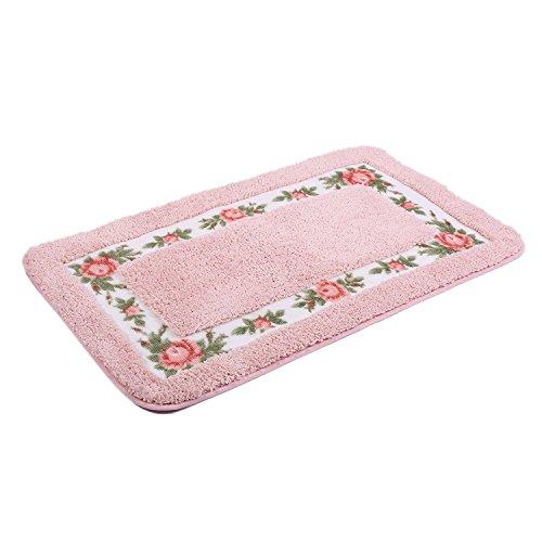 (JSJ_CHENG Bath Rugs Mats for Bathroom Toilet Shower Tub Non Slip Microfiber Rose Floral Rectangular, Rustic Bathroom Decor (17.7-inch by 29.5-inch. Pink))