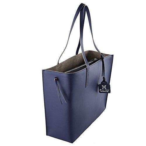 Borsa a tracolla, Sibilla blu, in vera pelle, dimensione in cm: 36 l x 29 h x 13 p