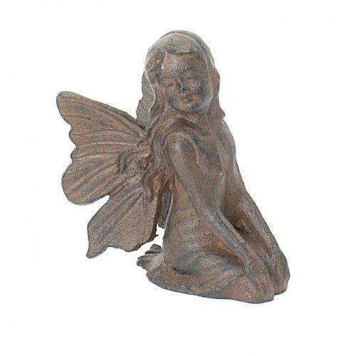 Kneeling Cast Iron Fairy Angel Garden Statue Pixie Home (Outdoor Iron Garden Statues)