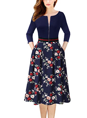 VFSHOW Womens Vintage Pleated Pockets Work Business Casual Skater A-Line Dress 1762 BLU XL