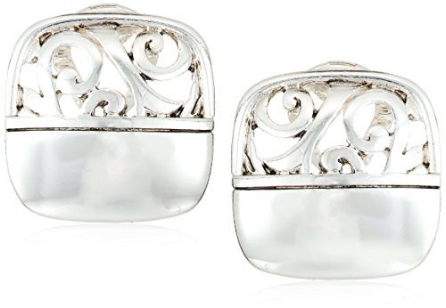 Napier Women's Silver-Tone With Antique Post Clip-On Earrings (Silver Clip Earrings)