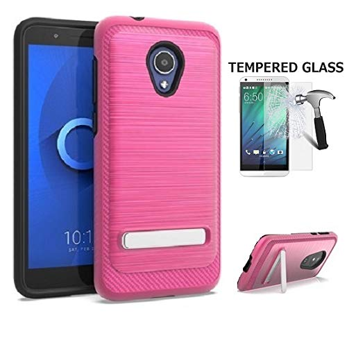 Phone Case for Straight Talk Alcatel TCL LX/TracFone Alcatel TCL LX/Alcatel idealXTRA/Alcatel 1X Evolve/Alcatel Avalon V, Dual Layer Brushed Style Shockproof Protection Cover Case Kickstand (Pink) (Pink Straight Talk Phones)