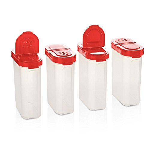 (Tupperware Spice Shakers Set of 4 Large Red Seals)