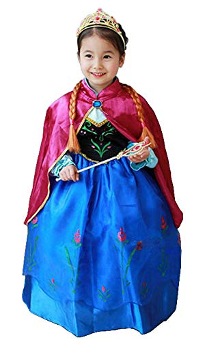 (About Time Co Princess Girls Snow Queen Cape Party Costume Outfit Cosplay Dress (4-5)