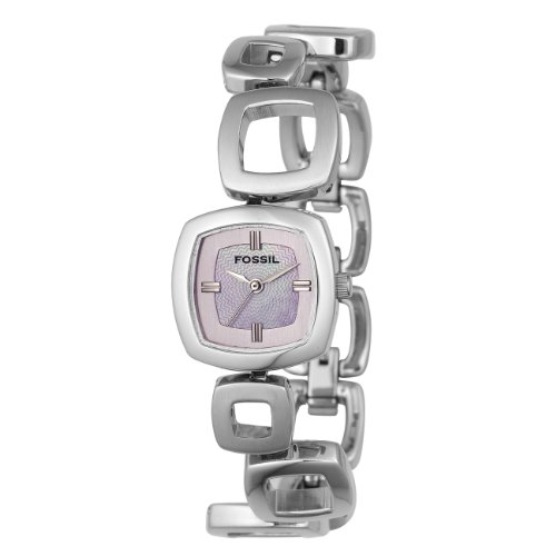 Fossil Women's ES1964 Linked Stainless Steel Bracelet Pink Mother-of-Pearl Glitz Analog Dial Watch