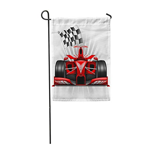 Semtomn Garden Flag Grand Red Race Car Checkered Flag Prix Front Track 12