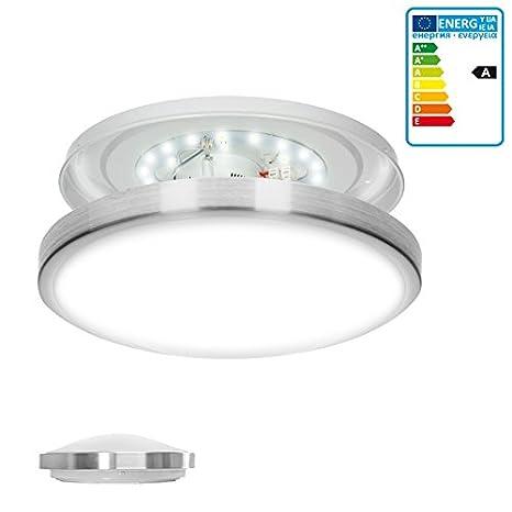 ECD Germany Lámpara de luz LED Lámpara de techo Lámpara de pared Bajo consumo 12W en aluminio Ø 30 cm Ahorradora de energía
