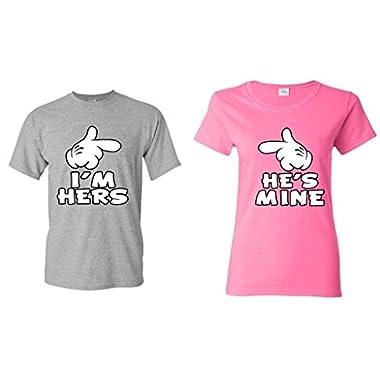 Couple Matching Cartoon Hands I'm Hers - He's Mine T-shirt -- Men Medium S. Grey **//** Women Small Pink