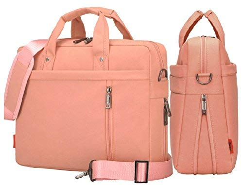 14 inch 15 inch 17 inch Waterproof Shockproof Business Laptop Bag Shoulder Strap Bag Briefcase for Men and Women (15inch, Pink)