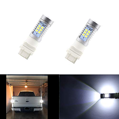 Dantoo 2 x 3057 Bulb 3156 3157 4057 4157 LED Reverse Light Bulbs 21 SMD Extremely Bright 6000K Xenon White Back Up Reverse LED Light Lamp