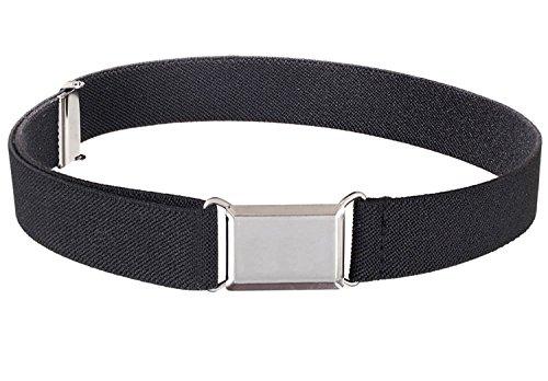 Belts Toddler Adjustable Elastic (Kids Elastic Adjustable Strech Belt With Silver Square Buckle - Black)