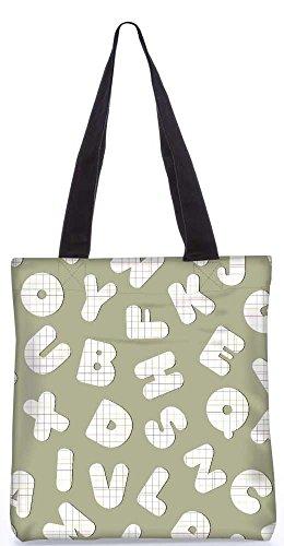 """Snoogg Kontrollen Alphabete Einkaufstasche 13,5 X 15 In """"Shopping-Dienstprogramm Tragetasche Aus Polyester Canvas"""