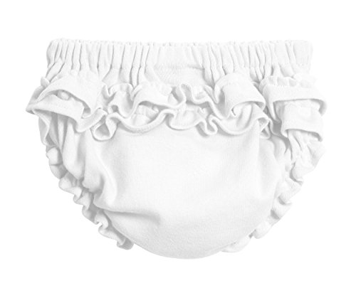 City Threads Baby Girls' Ruffled Diaper Covers Bloomers Soft Cotton Fashionable Cute, White, 3T