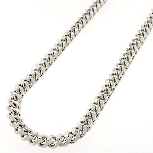 Sterling Silver 7mm Miami Cuban Curb Link Thick Solid 925 Rhodium Chain Necklace 24