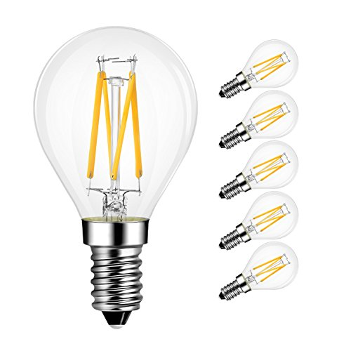 G14 LED Globe Bulb 4W(40W Incandescent Equivalent), LVWIT 2700K Warm E12 Screw Base Non-Dimmable LED Filament Bulbs, Pack of 6