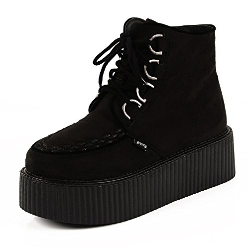 - RoseG Women's High Top Suede Lace up Flat Platform Creepers Shoes Boots Black Size7