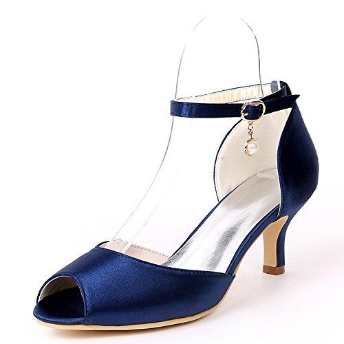 Soirée Chaussures Chaussures Peep Toe De D'honneur Mariage De Femmes Plateforme Taille Talons Marine De Perle Demoiselle Bas L Pendentif YC Bleu TqvEnU7w7