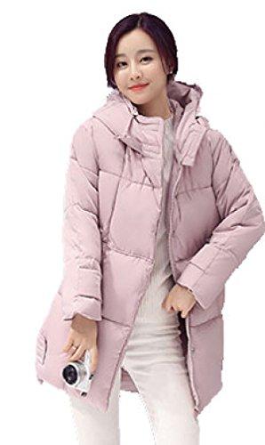 Chaqueta De Algodón De Gran Tamaño De Las Mujeres Collar Redondo Multicolor  Multitamaño Pink