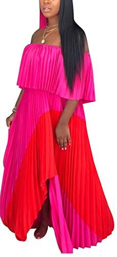 Women's Summer Loose Plain Maxi Dress Layered Flounce Floor Length Casual Long Dresses - Patchwork Chiffon Dress
