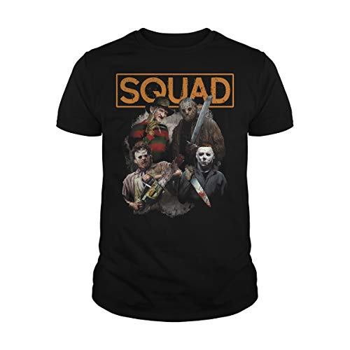 Zinko Men's Freddy Jason Michael Myers and Leatherface Squad Halloween Horror T-Shirt (XL, Black)