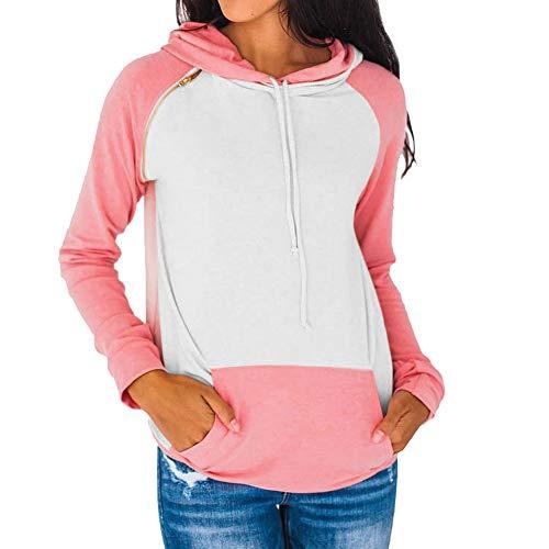 Kemilove Women Autumn Long Sleeve Pocket Patchwork Hooded Sweatshirt Pullover Tops Blouse Casual Hooded Coat Pullover by Kemilove