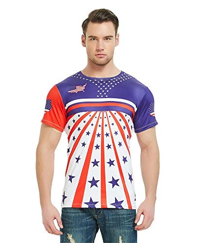 (DAWILS Mens American Flag T-Shirt Patriotic Vintage Shirts Hipster Short Sleeve Hip Hop Tee Shirt (X-Large, American Flag)