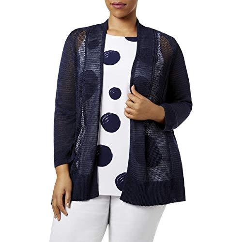 Alfani Womens Plus Mixed Stitch Open Front Cardigan Sweater Navy 0X