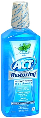 ACT Restoring Anticavity Fluoride Mouthwash Cool Splash Mint 18 oz Pack of 12