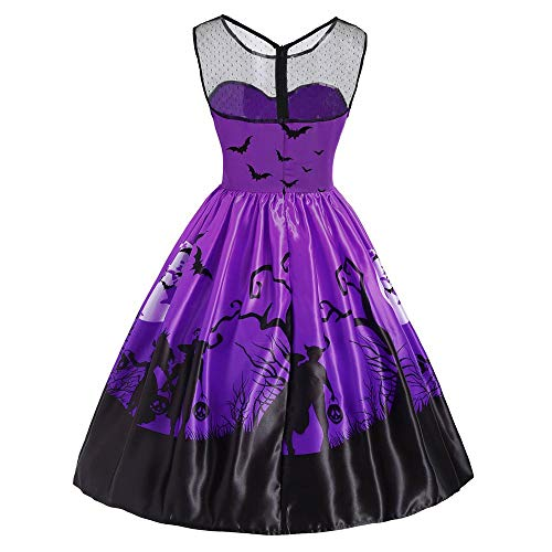 Grande Neck sans Manches Balan Robe oire Impression Halloween Fte Femme Violet Casual Ancien Taille ete Robe O Dbardeurs Femme Discount g4wtqt