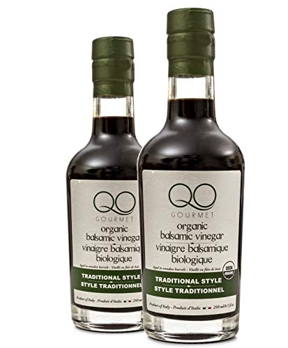 - QO Gourmet Organic Italian Barrel Aged Thick Balsamic Vinegar of Modena Traditional Style | Gift Set | High Density Premium Italian Vinegar | Aceto Balsamico | Produced and Bottled in Modena, Italy