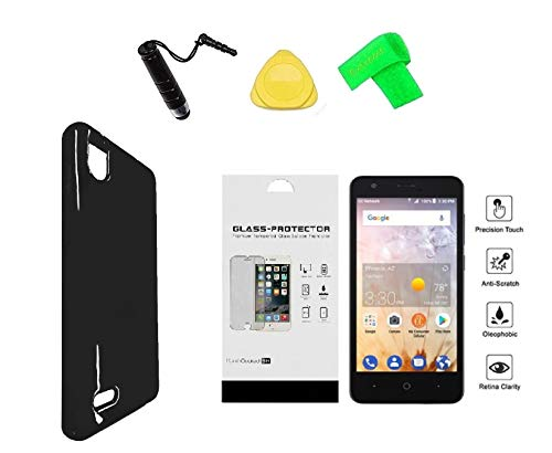 for ZTE Avid 559 TPU Flexible Gel Skin Cover Phone Case + Tempered Glass Protector + Extreme Band + Stylus Pen + Pry Tool (Black) ()