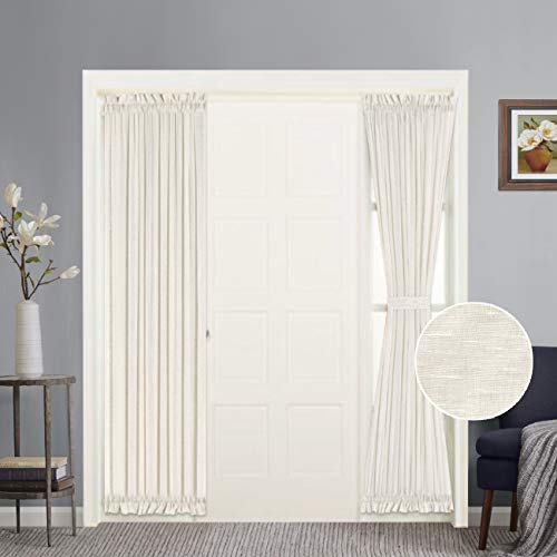 Functional Airy and Breathable French Door Curtain Rich Linen Home Fashion Semi Sheer Curtains, Rod Pocket Door Panel, Set of 2, Multi Size, 25 x 72 - Inch - Natural