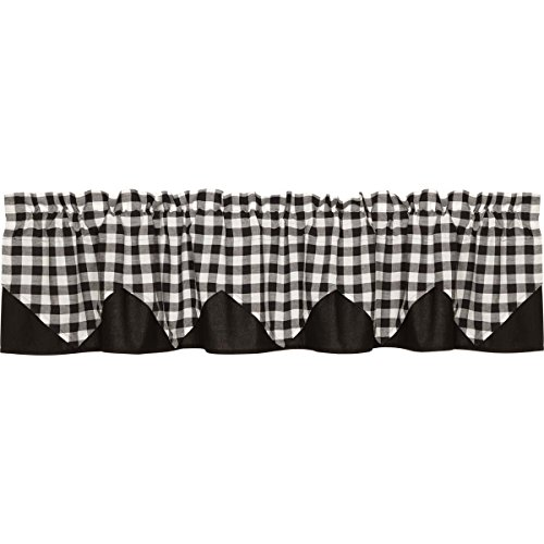 VHC Brands Buffalo Black Check Layered Lined 21063 Valance For Sale