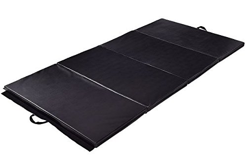 K&A Company Mat Thick Folding Panel Gymnastics Gym Fitness Exercise Yoga Tumbling New Home Black 4' x 10' x 2""