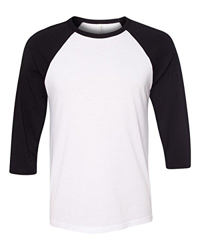 Bella 3200 Unisex 3 By 4 Sleeve Baseball Tee - White & Black, Small Small Black And White
