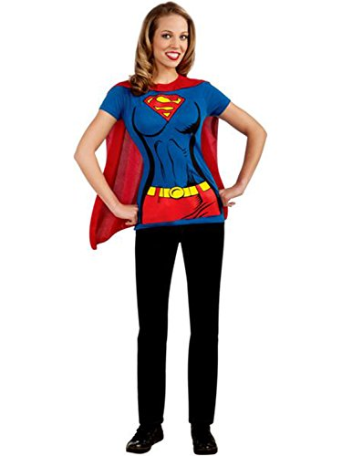DC Comics Super-Girl T-Shirt with Cape, Blue, Large Costume ()