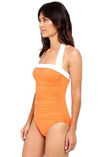 LAUREN Ralph Lauren Women's Bel Aire Solids Shirred Bandeau Mio Slimming Fit w/ Soft Cup Tangerine Swimsuit by Lauren by Ralph Lauren (Image #4)