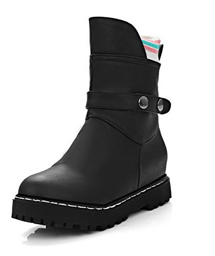 AgooLar Women's Low-Top Solid Pull-On Round Closed Toe Low-Heels Boots Black GJjIqqoIF0