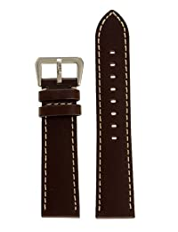 22mm Width Panerai Style Leather Watch Band Original Style stainless Steel Buckle Brown Color Watchband - by JP Leatherworks