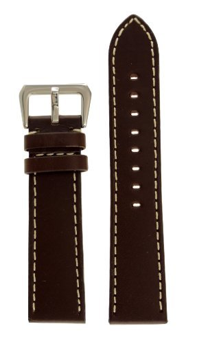 20mm Width Panerai Style Leather Watch Band Original Style stainless Steel Buckle Brown Color Watchband - by JP Leatherworks