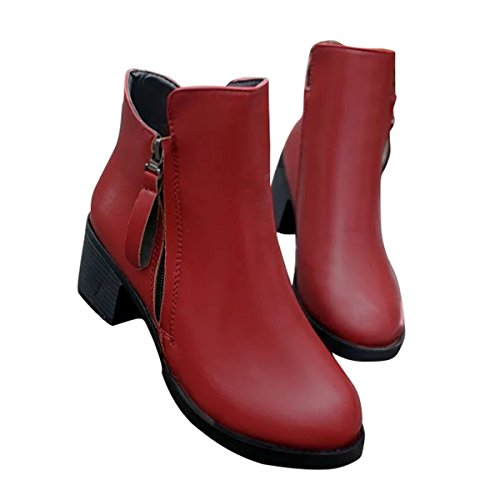 Female Shoes Red Solid Boot Fashion Zip Leather Women Woman Thick Bottom Mid Heel wxwqfXR