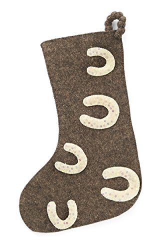 Arcadia Home (ARD4L) Horseshoe in Hand Felted Wool Stocking - Felted Wool Christmas Stocking