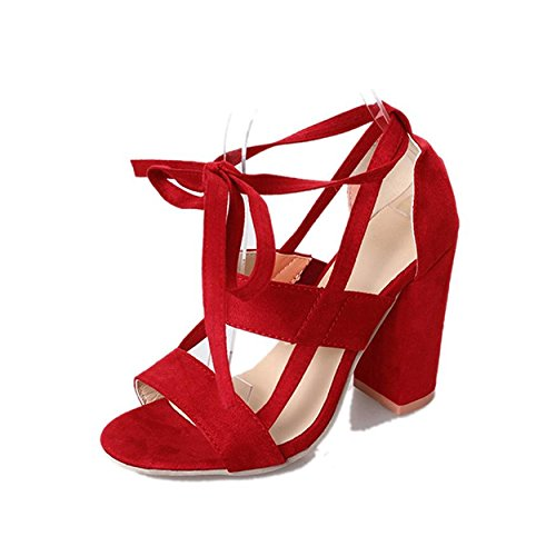 Hauts Sandales Talons Red Sandales Femelle pour Cheville Femme Sandales Femme Chaussures Orteil Tingtingbin Talons pour g6vqUEqx
