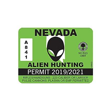 Nevada Alien Hunting Permit Sticker Decal Vinyl UFO NV