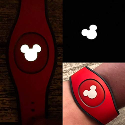 Set of 5 Vinyl Skin Decal Wrap Sticker Cover for The MagicBand 2 | Magic Band 2.0 and 1.0 Glow In The Dark Mouse Heads]()