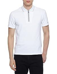 Sport Men's White Stretch Cotton Zip Polo Golf T-Shirt
