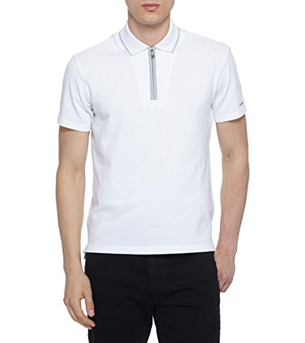 Ermenegildo Zegna Sport Men's White Stretch Cotton Zip Polo Golf T-Shirt (2XL)